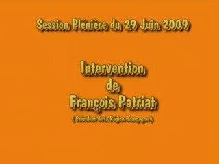 Intervention François Patriat suite Rapport Activité TER