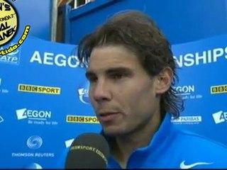 Entrevista Rafael Nadal post-partido vs Stepanek R3 QUEENS 2011 [interview]