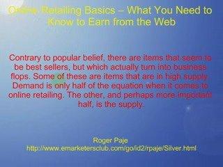Online Retailing Basics