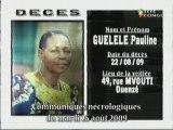 Communiqués nécrologiques du 25-08-09