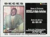 Communiqués nécrologiques du 11-09-09
