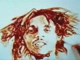 il dessine un portrait de bob marley avec du ketchup