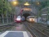 Départ TGV vers Strasbourg + passage train porte conteneurs