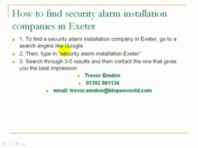 Find Security Alarm Companies in Exeter