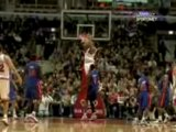 NBA Derrick Rose grabs the alley-oop and finishes strong.