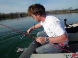 pêche d'un gros brochet au mort manié (101 cm)