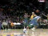 NBA Ron Artest steals the pass and finishes with a nice layu