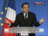 EVENEMENT,Discours de Nicolas Sarkozy sur les décisions prises sur le grand emprunt