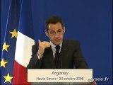 Crise financière : le discours de Nicolas Sarkozy à Argona