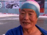 Chinese grannies go swimming in ice