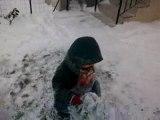 Les enfants dans la neige chez Mamie Mado