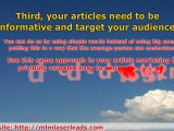 MLM Article Marketing Success Tips With Four Key Marketing S