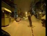 Une balade à ski dans les rues de Bucarest