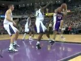 Steve Nash drives the lane and somehow manages to get this s