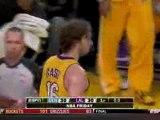 Pau Gasol slams home a wild shot from Kobe Bryant to beat th