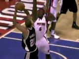 Ben Wallace blocks Tim Duncan's shot during the first quarte