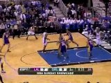 Andrew Bynum blocks Dwight Howard's shot during the first qu