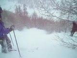 ski dans les mélèzes