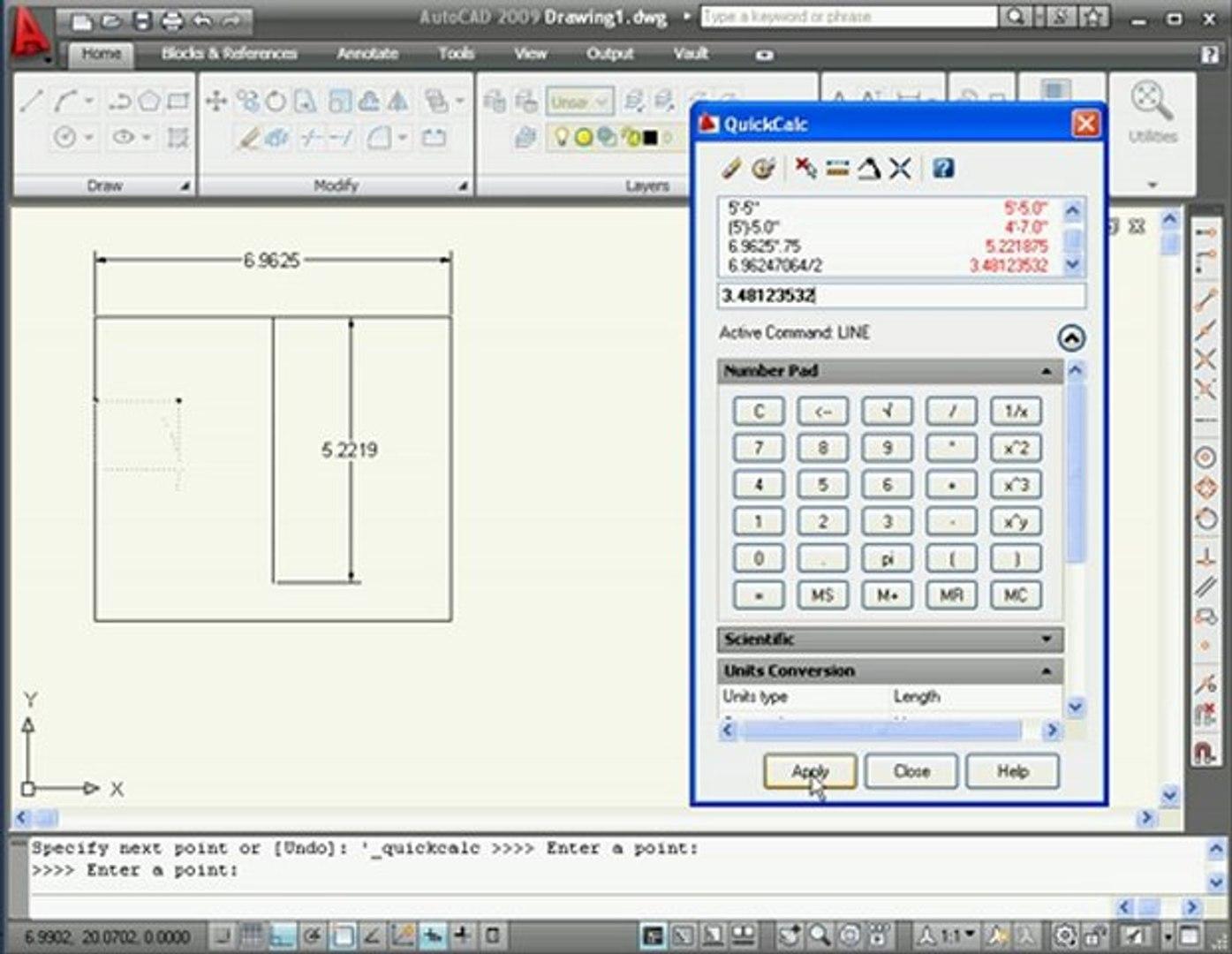AutoCAD Tutorials Quick Calculator