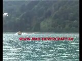 Water skiing with hovercraft as water ski boats