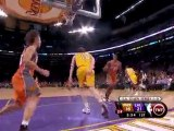 Derek Fisher blocks a pass into the hands on Lamar Odom.  Ro