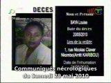 Communiqués nécrologiques du 29-05-10