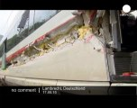 A truck collides with highspeed train in... - no comment