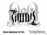 Zodiac Sign Ambigram Tattoos