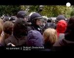 Police use water cannons on demonstrators... - no comment