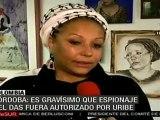 Grave, que Uribe y EE.UU. hayan avalado espionaje a opositores en Colombia (Piedad Córdoba)