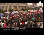 Thousands protest over Romania austerity cuts - no comment