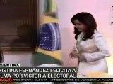 Cristina Fernández felicita a Dilma Rousseff por victoria electoral