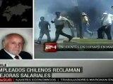 Empleados chilenos reclaman mejoras salariales