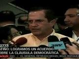 Ricardo Patiño: logramos un acuerdo sobre la cláusula democrática