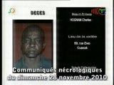 Communiqués nécrologiques du 28-11-10