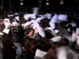 Chinese Pillow Fight on Christmas Eve in Shanghai