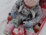 Promenade au square St Roch sous la neige mais sur la luge