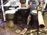Wooden Stompbox, Didgeridoo & Djembe Demo