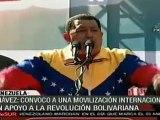 Chávez convoca a manifestaciones internacionales para demostrar apoyo a la Revolución Bolivariana