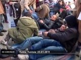 Rural Tunisians protest in front of PM's office - no comment