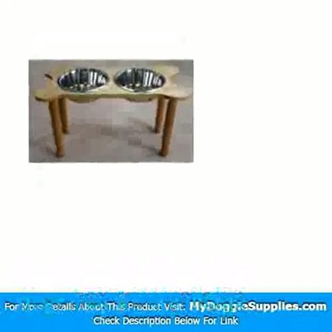 2 Bowl Bone Shaped Pet Diner Size  X-Small  Finish  Cherry