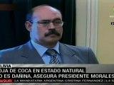 Evo Morales en campaña defendiendo la hoja de coca