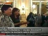 Cristina Fernández y Dilma Rousseff se reúnen en Buenos Aires
