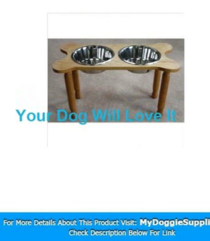 2 Bowl Bone Shaped Pet Diner Size  Large  Finish  Natural