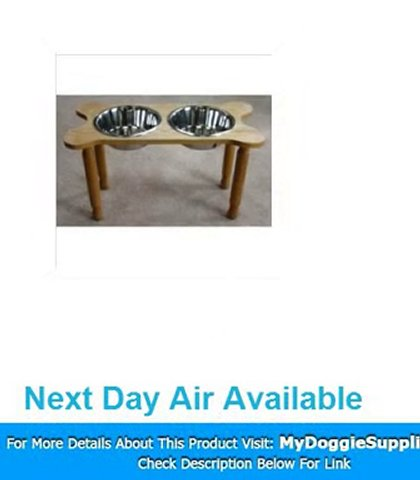 2 Bowl Bone Shaped Pet Diner Size  Medium  Finish  Cherry