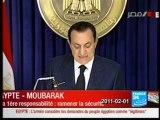 EGYPTE - Intervention de  Hosni Moubarak - 01-02-2011