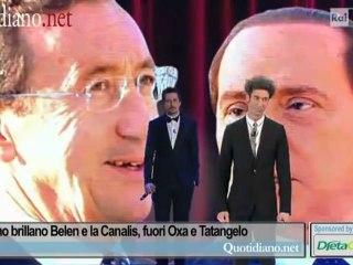 A Sanremo brillano Belen e la Canalis, fuori Oxa e Tatangelo
