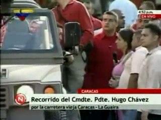 Chávez durante recorrido en La carretera Caracas. La Guaira