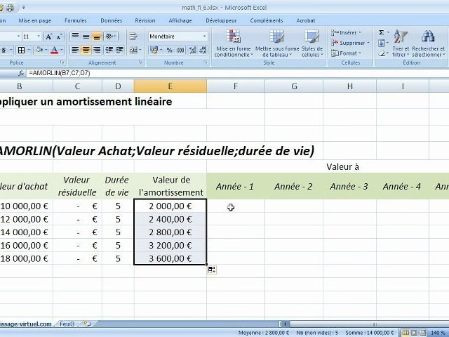 Fonction Amorlin Sur Excel Video Dailymotion