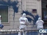 RSF jette de la peinture sur l'ambassade de Syrie à Paris